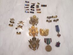 Military Lot Medals Pin Patch Button Eagle Wwi Antique