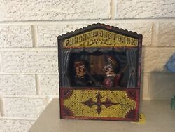 Punch And Judy Antique Cast Iron Mechanical Bank Large Letters C1888 Shepard Dl