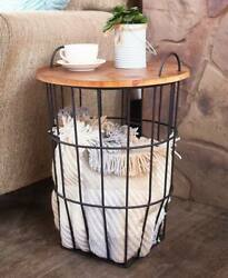 Country Farmhouse Wood Top Storage Basket Side Table