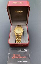 Gold Tone Stainless Steel Menandrsquos Gruen Precision Watch 3atm-100ft 237-2105 Nos