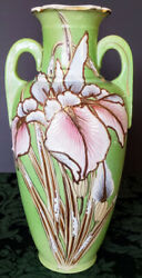 Imperial Kilns Royal Antique Nippon Hand Made And Painted Gold Gilded 'iris Vase