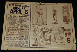 April 1925 Boxing Event Advertising Large Window Poster Elm Rink New Bedford Usa