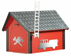 Deluxe Poly Fire Dept Mailbox W / Aluminum Plate Roof Color Matchimg Post