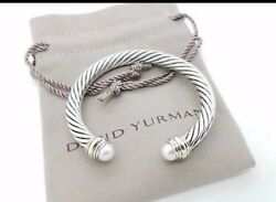 David Yurman 7mm Silver Cable Bracelet With Pearl Stone And 14k Gold Caps