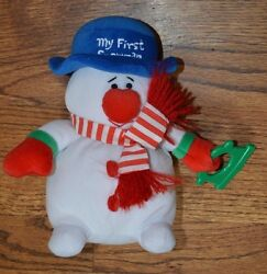 Vintage Carters 8 Plush My First Snowman Baby Lovey Stuffed Toy Rattle Euc