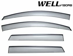 Wellvisors Black Trim Side Window Guard Visors Deflectors For 07-14 Ford Edge