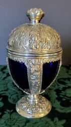 English Silver Jennings Brothers Cobaltblue Glass Insert Hand-repousse'd Chalice