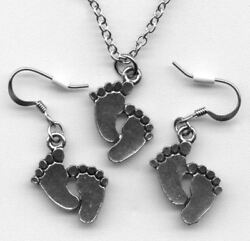Barefoot Bare Feet Foot Necklace Earrings Jewelry Gift Set Pewter Pendant Charm
