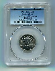 South Africa 10th Year Of Freedom R2 Year 2004 Democracy Coin Pcgs Ms66