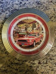 Vintage 2003 Kent Bash Route 66 Red For Mustang Round 11 Neon Clock No Adapter