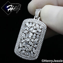MEN 925 STERLING SILVER ICY BAGUETTE DIAMOND SILVER DOG TAG PENDANT*SP251