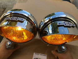 Small 6 Volt Amber Vintage Style Fog Lights B/t Visors And Gray Brackets
