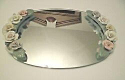 Oval Dresser Vanity Mirror Tray with Colored Porcelain Roses 14quot; x 9quot;