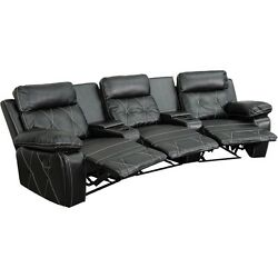 Reel Comfort Series 3-seat Reclining Black Leather Theater Seating Unit
