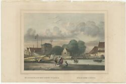 Antique Print Of A Loading Dock In Batavia By Lauters 1844