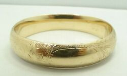 14k Yellow Gold Floral Scroll Hinge Bangle Bracelet 6.75 Inch 23.3 Grams D9966