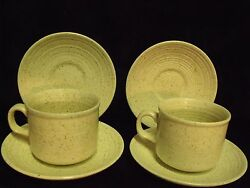 Churchill England Homespun Pottery Oatmeal Stoneware Coffee Cups And Saucers