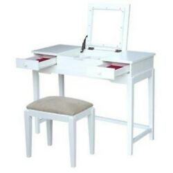 International Concepts K-be08-2-dt-2 Vanity Table With Vanity Bench Snow White N