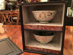 Pair Important Qing Dynasty Famille Rose Dragon Bowls with Original Zitan Box.