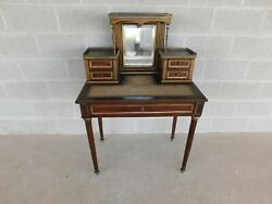 Antique French Louis Xvi Style Brass Inlaid Dressing Table