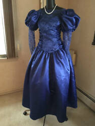 Vintage 80s Ugly But Grand Prom Party Dress Big Bow Big Glam Small