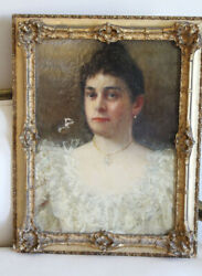 Antique French Figural Painting Woman In Lace Dress Original Water Gilt Frame