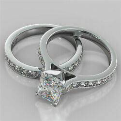 2.62 Ct Radiant Solitaire Diamond Wedding Band Sets 14k Solid White Gold Rings
