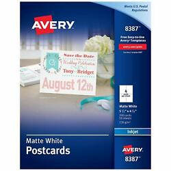 Avery Printable Postcards for Inkjet Printers 4.25quot; x 5.5quot; 200 White Cards