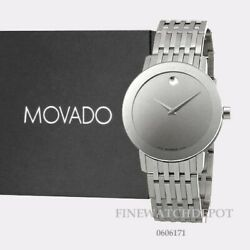 Authentic Movado Menand039s Sapphire Quartz Mirror Dial Stainless Steel Watch 0606171