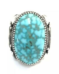 Native American Sterling Silver Navajo Blue Bird Turquoise Ring Sz 11