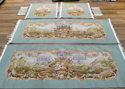 Luxury Authentic Silk Wool Antique Blue French Aubusson Sofa Cover Full Sets
