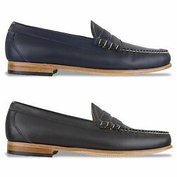 G.h Bass Weejuns Shoes - Palm Springs Larson Leather Loafer - Navy, Brown - Bnib