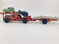 Hubley Cast Iron 1930's Nu Car Transport W/ Two Austin Coupes