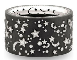 925 Sterling Silver Bracelet Simulated Star Moon Galaxy Black Statement Bangle