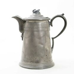 Antique 18th Century Large Pewter Lidded Pitcher 11 Tall Hand Stamped Design