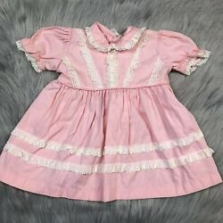 Vintage 1950s Baby Girls Pink Lace Ruffle Trim Back Tie Dress $25.00