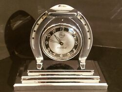 Tested Good Antique Working 1920's Lux Art Deco Horseshoe Mantle Clock