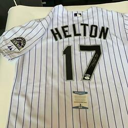 Todd Helton #17 Signed Authentic Colorado Rockies Game Model Jersey Beckett COA