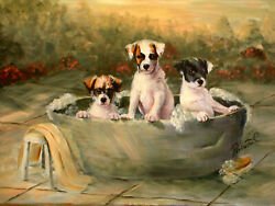 Jack Russell Terrier dog art original oil painting on canvas by Roberta C