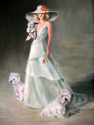 West Highland  Terrier with lady original oil painting on canvas by Roberta C