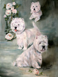 West Highland White Terrier dog art original oil painting on canvas by Roberta C