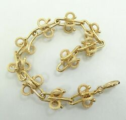 14k Yellow Gold Smooth And Textured Bracelet Hollow 7.5 Inch 11mm 13.2 Grams M28