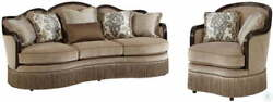 2 PC Sofa Set Living Room Furniture Sofa Couch Carved Wood Accent Chair Pillows