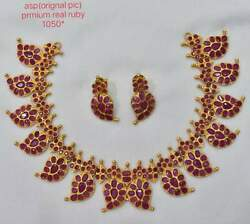 Bridal Beautiful Red Real Ruby Necklace Set ia699
