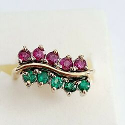 Vintage 14k Yellow Gold Emerald And Ruby Half Eternity Ring Size 6 795
