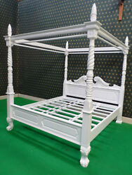 Solid White Queen Anne Style Four Poster Canopy Bed Bedframe 100 Mahogany Wood