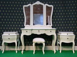 White Or Cream Five Piece Rococo Bedroom French Wood Set Dressing Table, Bedside
