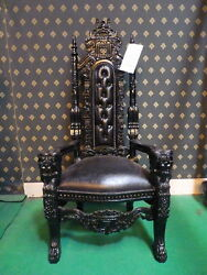 Gothic Black Lion King Throne Chair Prop Wedding And Hotel 180cm High
