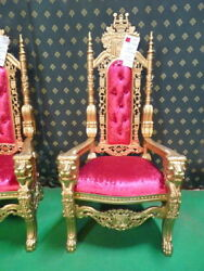 Gold With Pink Lion King Throne Chair For Prop Movie Music Video Hotel