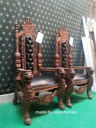 Lion King Throne Chair Designer Antique Mahogany /dark Tone With Faux Leather